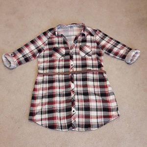 NWOT Passport Plaid Flannel Button Up Dress